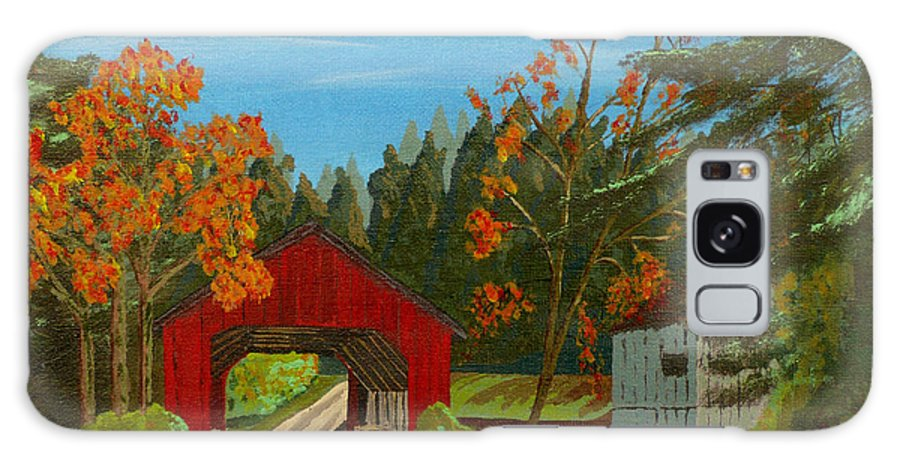Path Galaxy S8 Case featuring the painting Covered Bridge by Anthony Dunphy