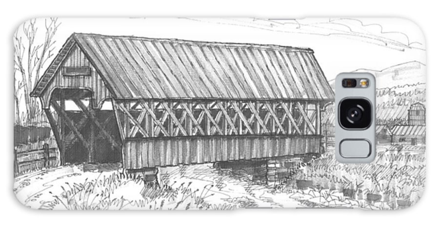 Covered Bridge Galaxy S8 Case featuring the drawing Covered Bridge Coventry Vermont by Richard Wambach
