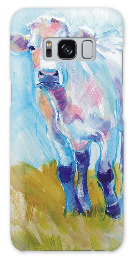 South Devon Galaxy S8 Case featuring the painting Cow Painting by Mike Jory