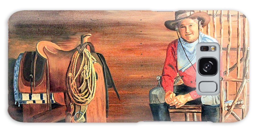 Saddle Galaxy S8 Case featuring the painting Cowboy by Vickie Black