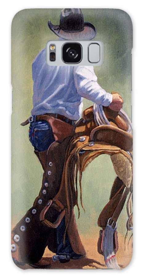 Cowboy Galaxy S8 Case featuring the painting Cowboy With Saddle by Randy Follis