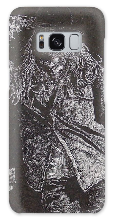 Figurative Galaxy Case featuring the drawing Cowgirl by Denis Gloudeman