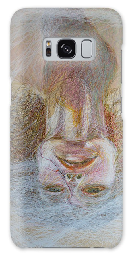 Abstract Modern Raw Folk Outsider Portrait Lady Woman Face Yellow Pink Green Upside Down Fog Foggy Galaxy S8 Case featuring the painting Cracked Down by Nancy Mauerman