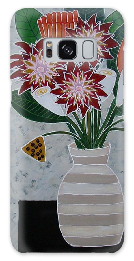 Flowers Galaxy S8 Case featuring the painting Cream Striped Vase by Elizabeth Langreiter
