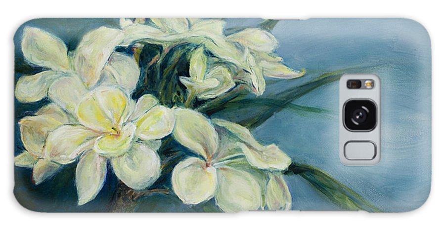 Hawaiian Flower Galaxy S8 Case featuring the painting Creamy Plumeria by Susan Jecminek
