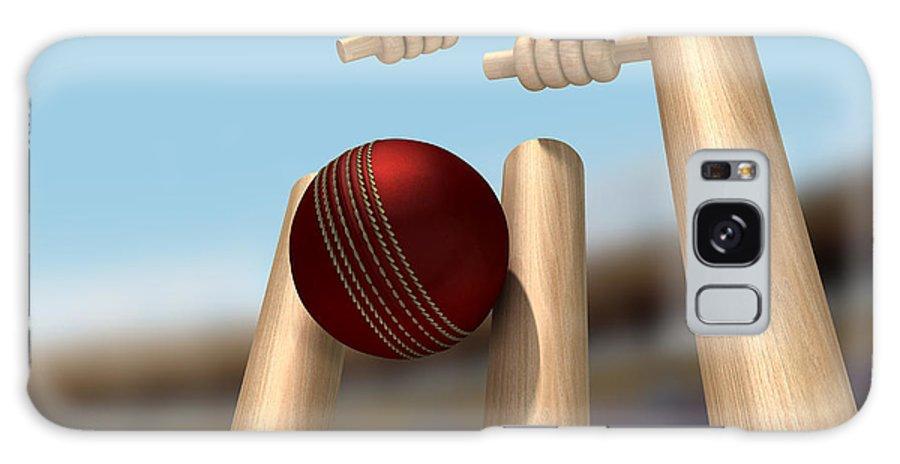 Cricket Galaxy S8 Case featuring the digital art Cricket Ball Hitting Wickets by Allan Swart