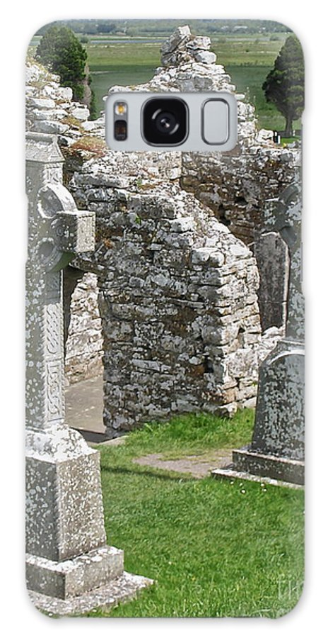 Irish Cross Galaxy S8 Case featuring the photograph Crosses Of Clonmacnoise by Suzanne Oesterling