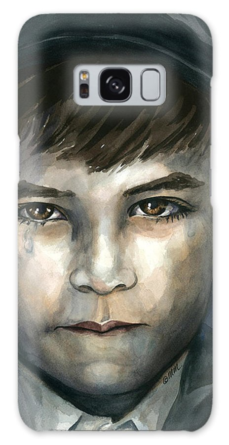Little Boy With Tear In His Eye Galaxy S8 Case featuring the painting Crying In The Shadows by Michal Madison