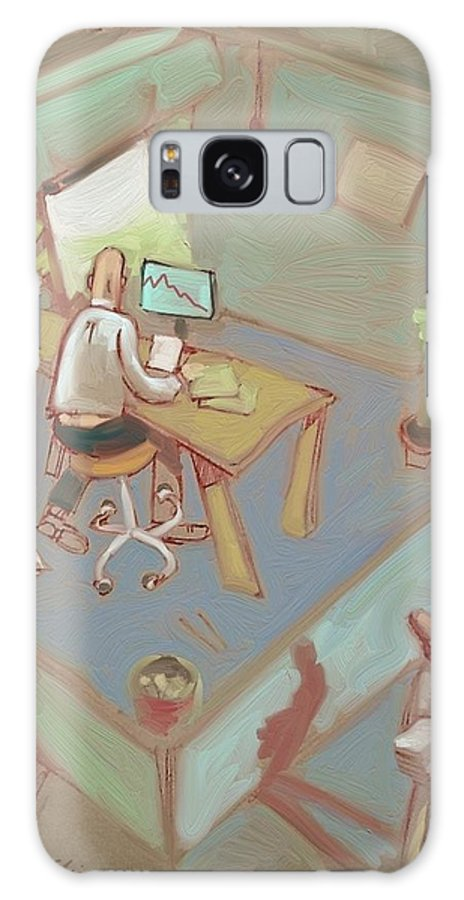 Office Galaxy S8 Case featuring the painting Cubicleism by Lee Steiner