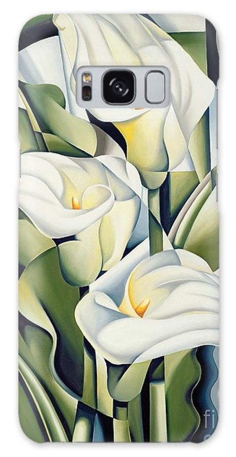 Cubist Galaxy Case featuring the painting Cubist lilies by Catherine Abel