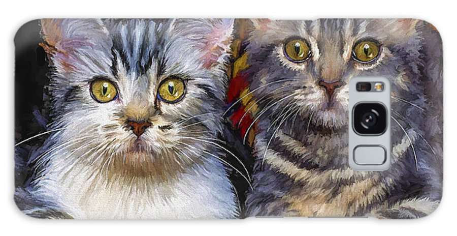 Cat Galaxy Case featuring the painting Curious Kitties by David Wagner