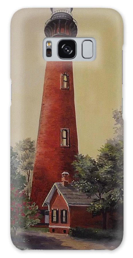 Lighthouse Galaxy Case featuring the painting Currituck Lighthouse by Wanda Dansereau