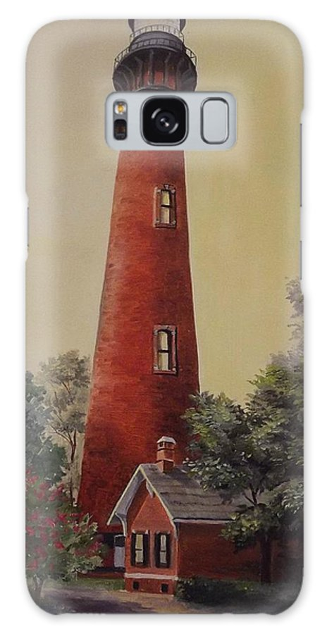 Lighthouse Galaxy S8 Case featuring the painting Currituck Lighthouse by Wanda Dansereau