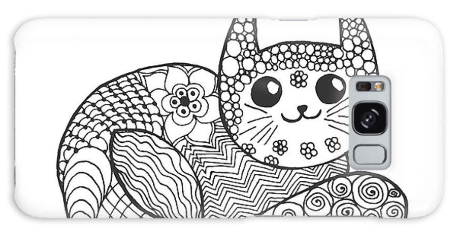 Pets Galaxy S8 Case featuring the digital art Cute Kitten. Black White Hand Drawn by Palomita