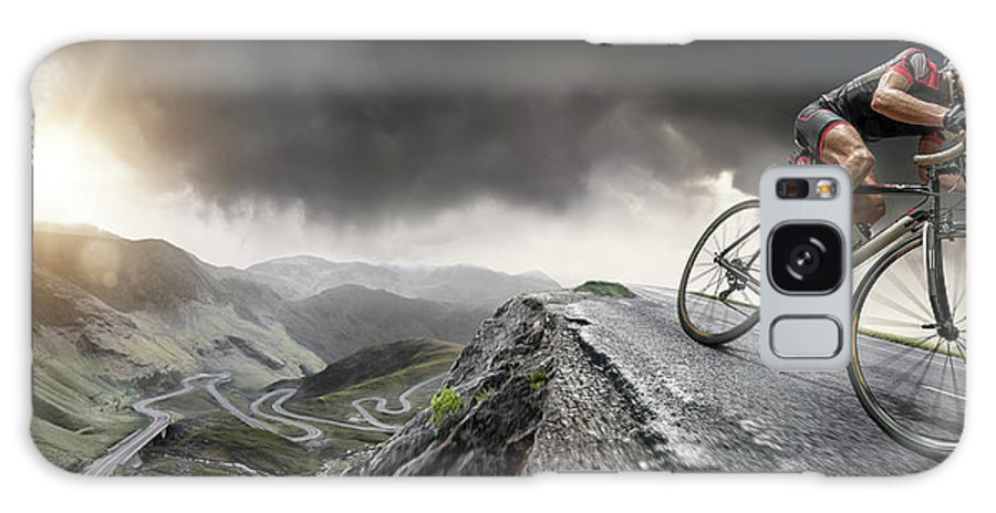 Sports Helmet Galaxy Case featuring the photograph Cyclist Climbs To The Top by Peepo