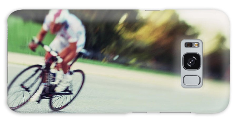 Event Galaxy Case featuring the photograph Cyclist In A Circuit by Gianlucabartoli