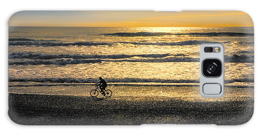 Beach Galaxy Case featuring the photograph Cyclist On Beach South Island by Sheila Smart Fine Art Photography