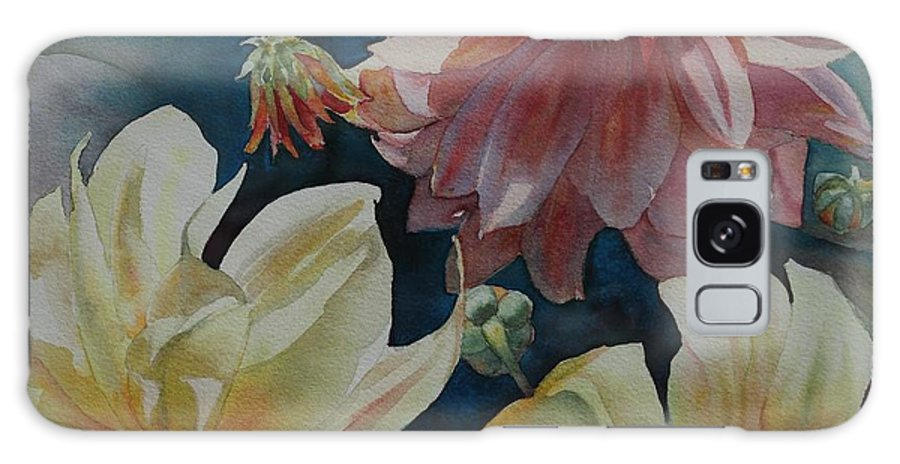 Flowers Galaxy S8 Case featuring the painting Cynthia's Dahlias by Ruth Kamenev