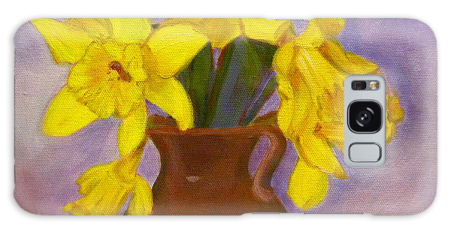 Daffodils Galaxy S8 Case featuring the painting Yellow Daffodils On Purple by Robie Benve