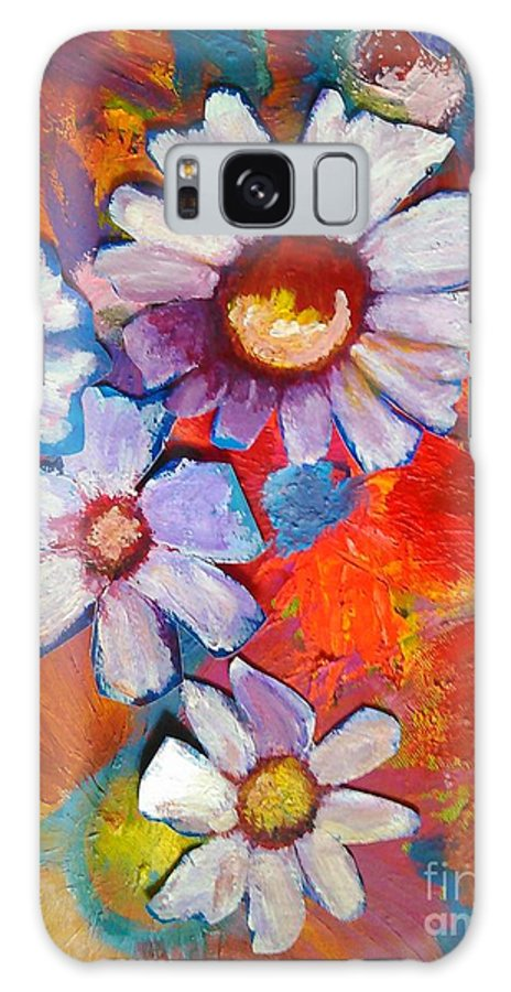 Floral Galaxy Case featuring the painting Daisies And Strawberries 2014 by Sidra Myers