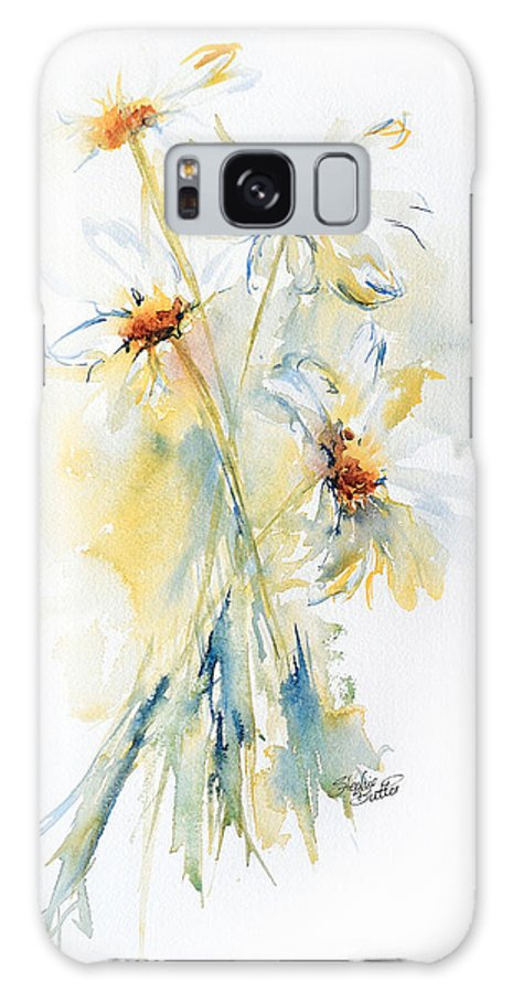 Stephie Galaxy S8 Case featuring the painting Daisy Bouquet by Stephie Butler