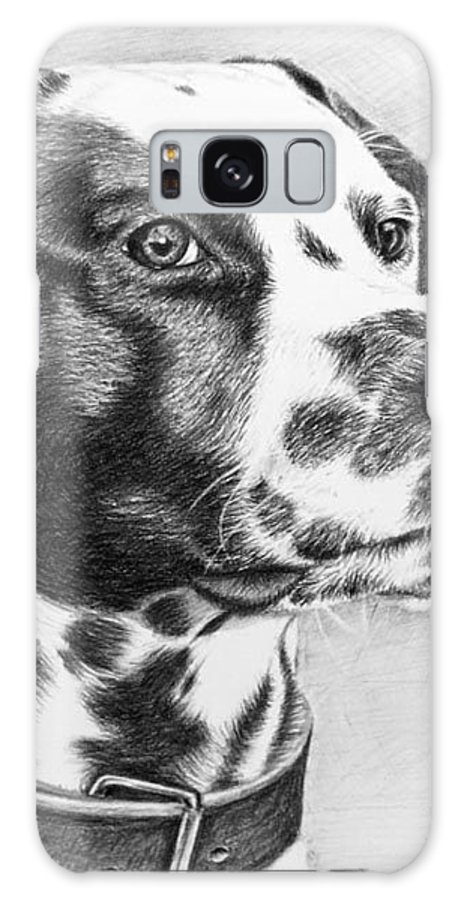 Dog Galaxy Case featuring the drawing Dalmatian Portrait by Nicole Zeug