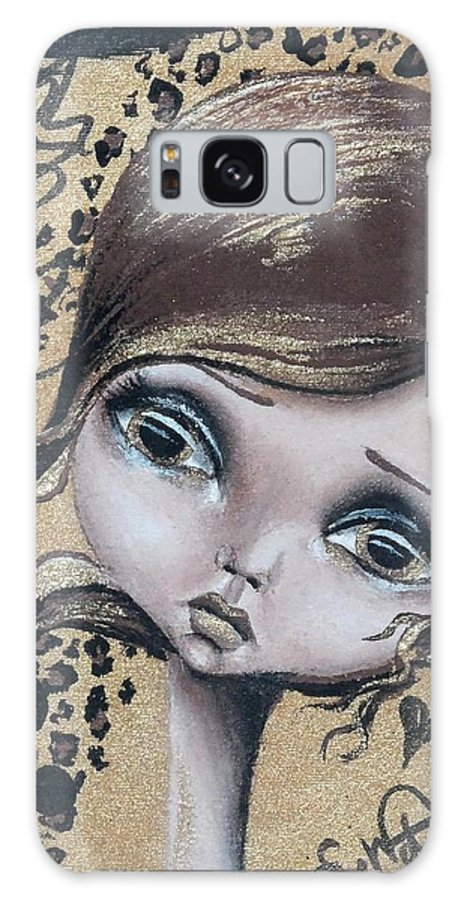 Big Eye Galaxy S8 Case featuring the painting Damsel In Gold by Lizzy Love of Oddball Art Co