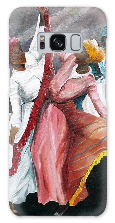 Dancers Folk Caribbean Women Painting Dance Painting Tropical Dance Painting Galaxy Case featuring the painting Dance The Pique 2 by Karin Dawn Kelshall- Best