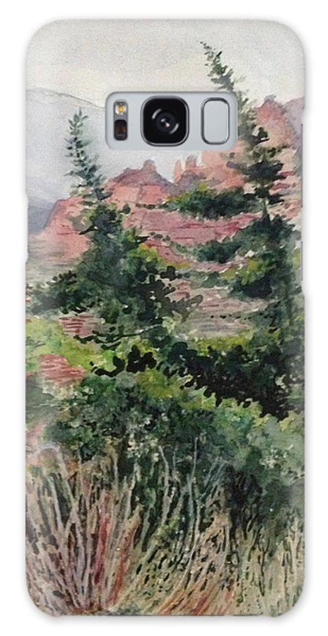 Mountains Galaxy S8 Case featuring the painting Dancing Trees by Kathy Sievering