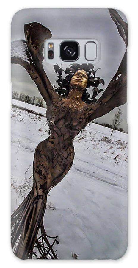 Daphne Galaxy S8 Case featuring the photograph Daphene Sculpture On A Winter Day by Sven Brogren