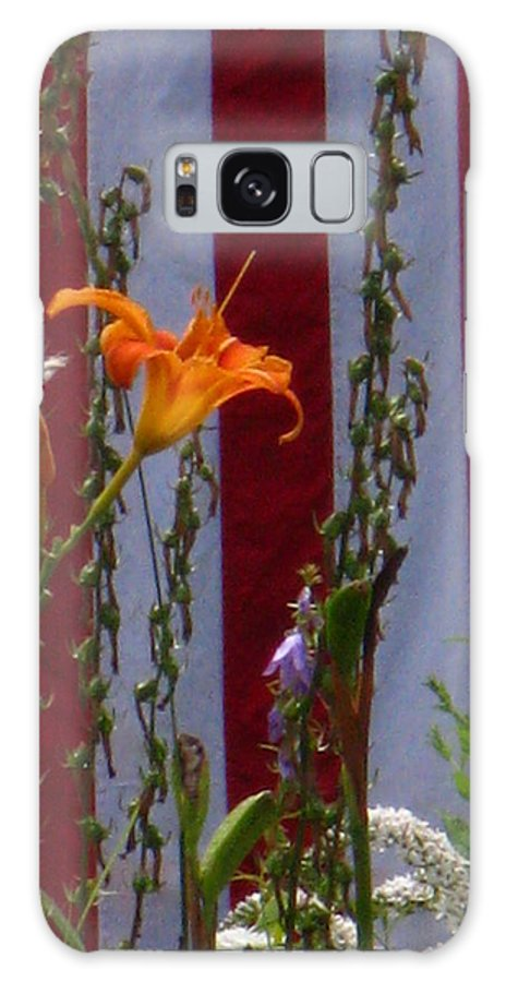 Vertical Galaxy S8 Case featuring the photograph Daylily And Old Glory by Bill Tomsa