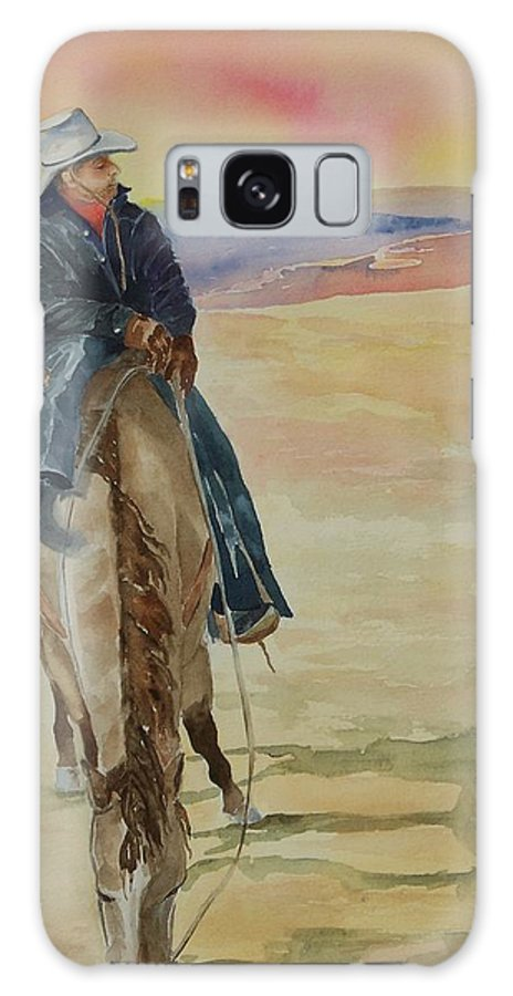 Cowboy Galaxy S8 Case featuring the painting Day's End by Celene Terry