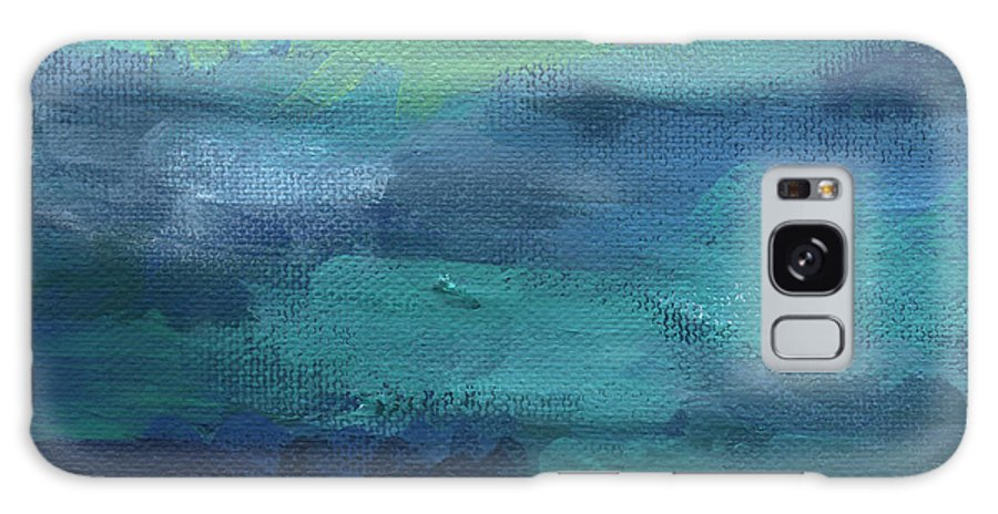 Blue Galaxy Case featuring the painting Tranquility- Abstract Painting by Linda Woods