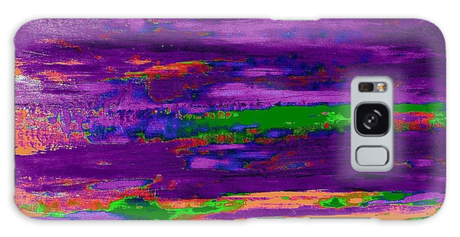 Abstract Galaxy S8 Case featuring the painting Deep Purple Horizontal by Saundra Myles