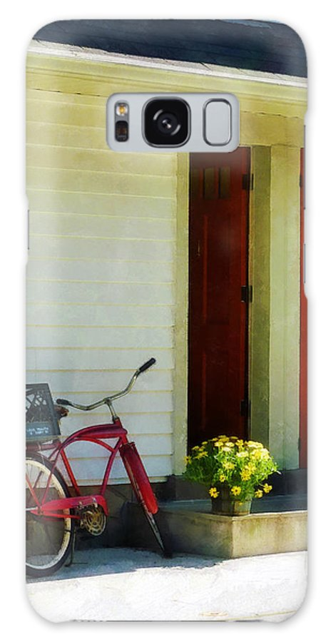 Bicycle Galaxy S8 Case featuring the photograph Delivery Bicycle By Two Red Doors by Susan Savad