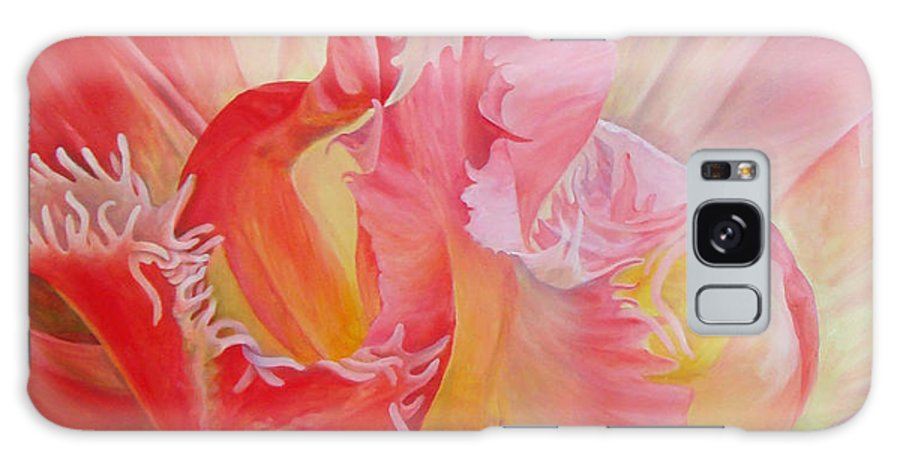 Acrylic Galaxy Case featuring the painting Dentelle de tulipe by Muriel Dolemieux