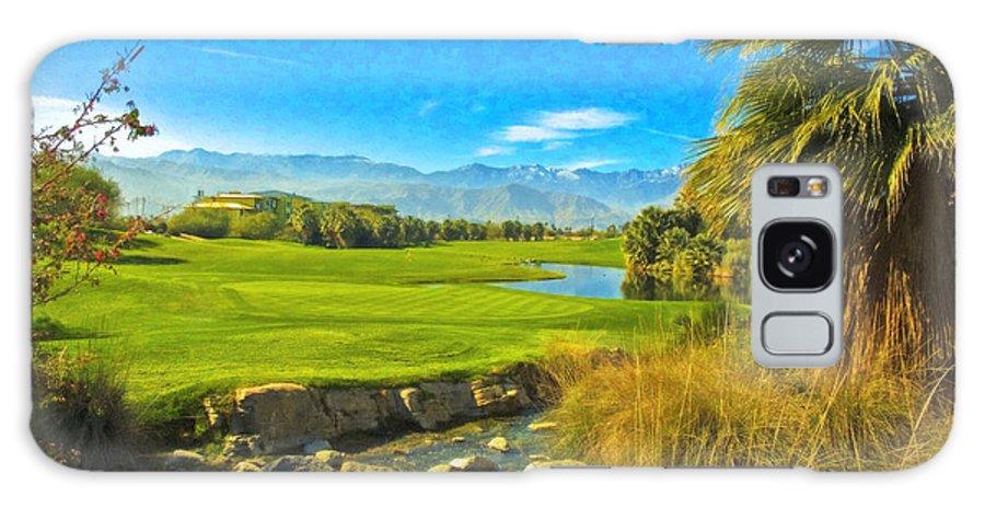 Golfing At Desert Willow Golf Course Palm Desert Ca Galaxy S8 Case featuring the photograph Desert Golf Resort Pastel Photograph by David Zanzinger
