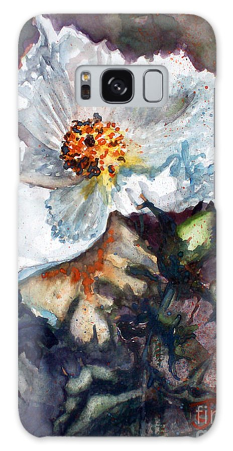 Desert Galaxy S8 Case featuring the painting Desert Prickly Poppy by CJ Rider
