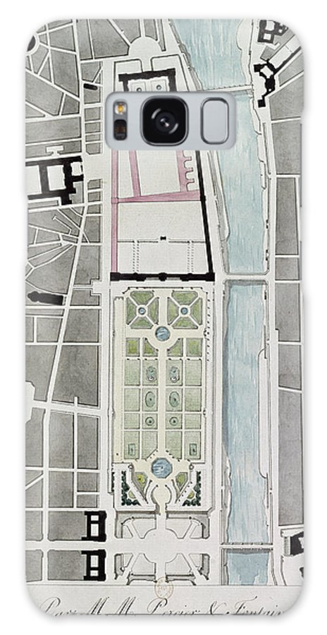Projet De Rattachement Galaxy S8 Case featuring the photograph Design For Joining The Tuileries To The Louvre, 1808 Wc On Paper by Charles Percier