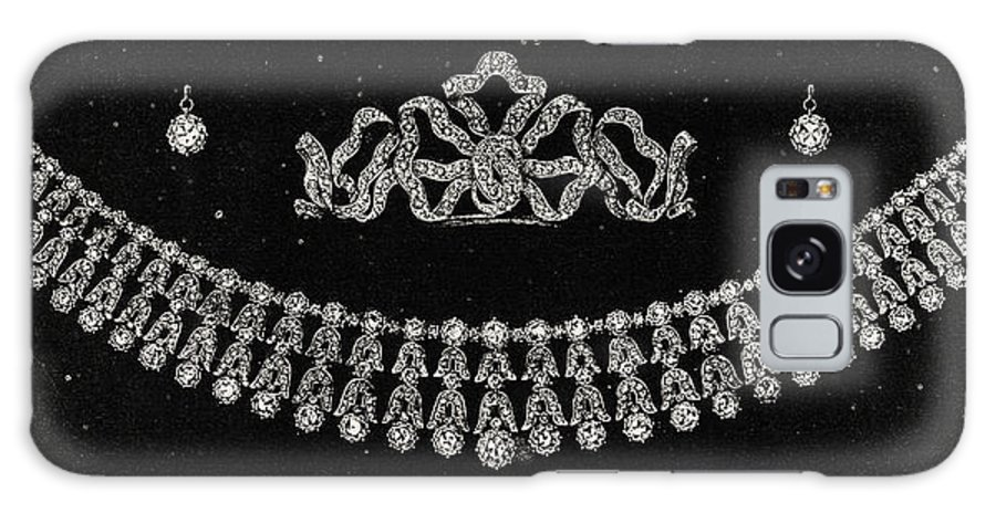 Gemstone Galaxy S8 Case featuring the drawing Diamond Tiara, Necklace, And Ear Rings Presented by English School