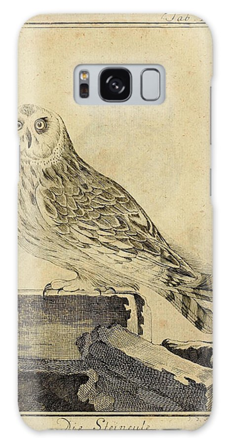 Stein Galaxy S8 Case featuring the drawing Die Stein Eule Or Church Owl by Philip Ralley