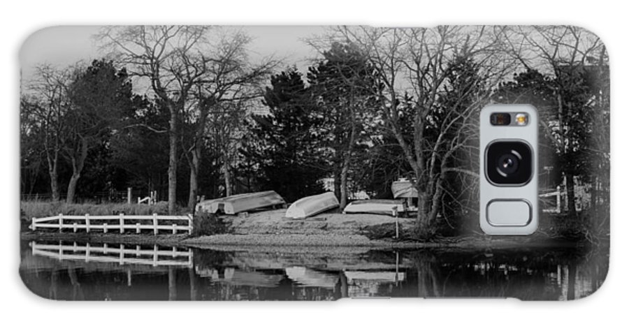 Dinghies Galaxy S8 Case featuring the photograph Dinghies Resting Tide Creek Black And White by Gregory Andrus