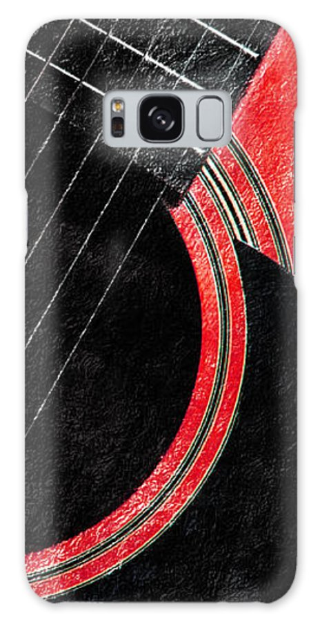Guitar Galaxy S8 Case featuring the photograph Diptych Wall Art - Macro - Red Section 2 Of 2 - Giants Colors Music - Abstract by Andee Design