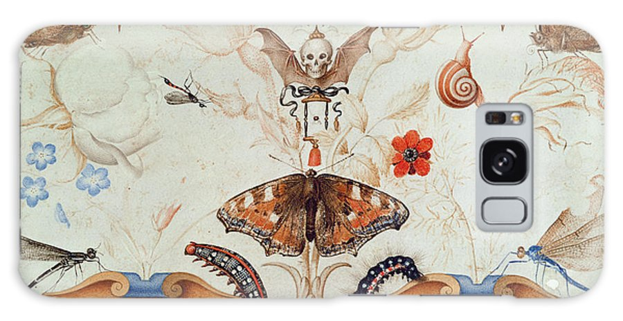 Diptych With Flowers And Insects Galaxy S8 Case featuring the painting Diptych With Flowers And Insects by Joris Hoefnagel