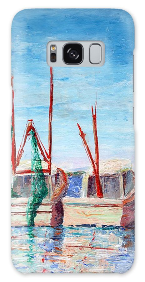Seascape Galaxy S8 Case featuring the painting Docked Duo by Deborah Naves