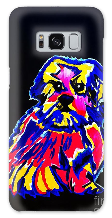 Dog Galaxy S8 Case featuring the painting Dog Tibetin Lhasa Apsos by Saundra Myles