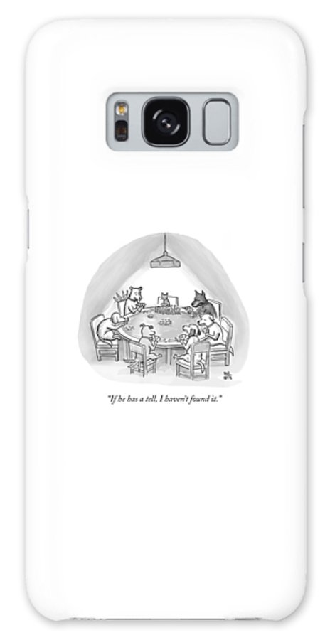 Dogs Galaxy S8 Case featuring the drawing Dogs Playing Poker Refer Angrily To A Cat Who by Paul Noth