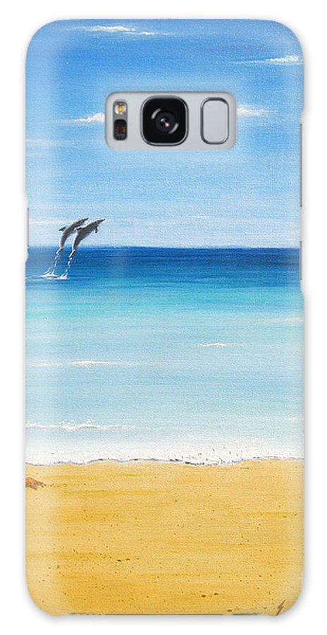 Dolphins Galaxy S8 Case featuring the painting Dolphin Beach by Jerome Stumphauzer