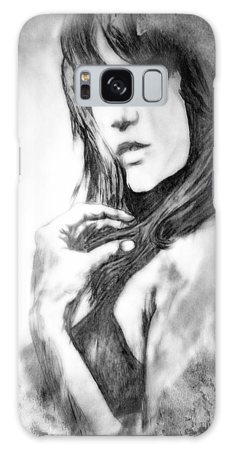 Woman Galaxy S8 Case featuring the drawing Don't Lie To Me by Joachim G Pinkawa