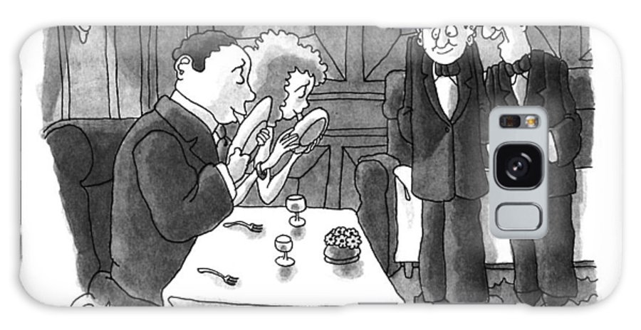 One Waiter Says To Another As Couple In Restaurant Lick Their Plates.  Animals Galaxy S8 Case featuring the drawing Don't You Just Love It When They Lick The Plates? by Gahan Wilson